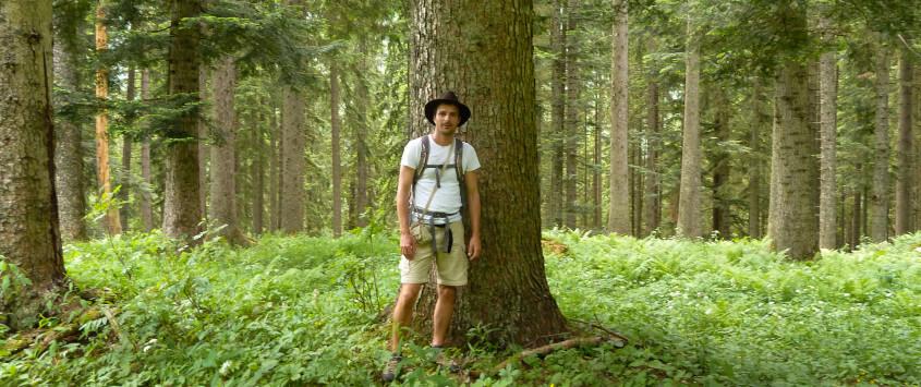 Alfred Zenz jun. in einem Tannenwald nähe Mariazell